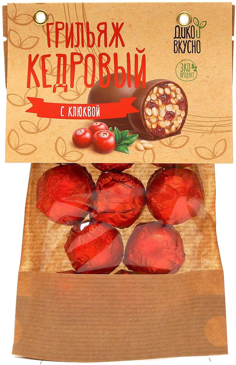 Грильяж кедровый Дико Вкусно с клюквой в шоколадной глазури, 160 г nuts for life арахис в сахарной глазури с соком натуральной клюквы 115 г