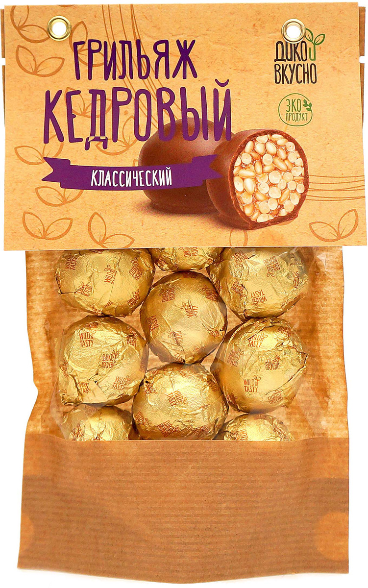Грильяж кедровый Дико Вкусно в шоколадной глазури, 160 г дико вкусно грильяж кедровый в шоколадной глазури классический 13 г х 9 шт 120 г