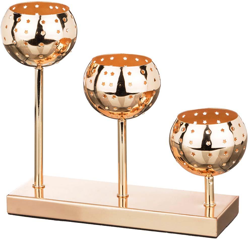 Подсвечник Lefard, 39-412, 3-х рожковый, золотой, 23 х 8 х 21 см подставка под ложку lefard гранаты 23 х 8 х 3 см