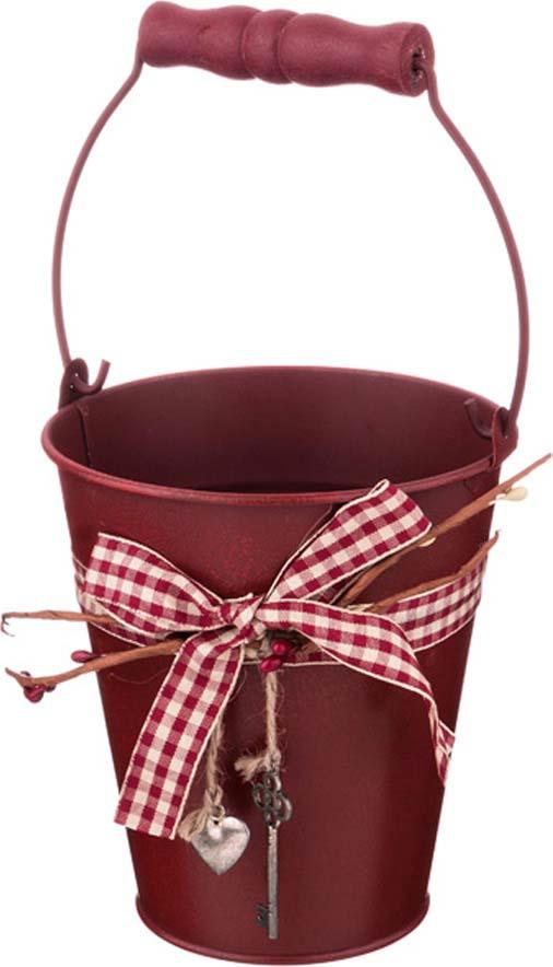 Кашпо-ведерко Lefard Key, 736-503, с ручкой, коричневый, 12 х 13 х 7,5 см кашпо lefard цвет розовый 14 х 14 х 13 см