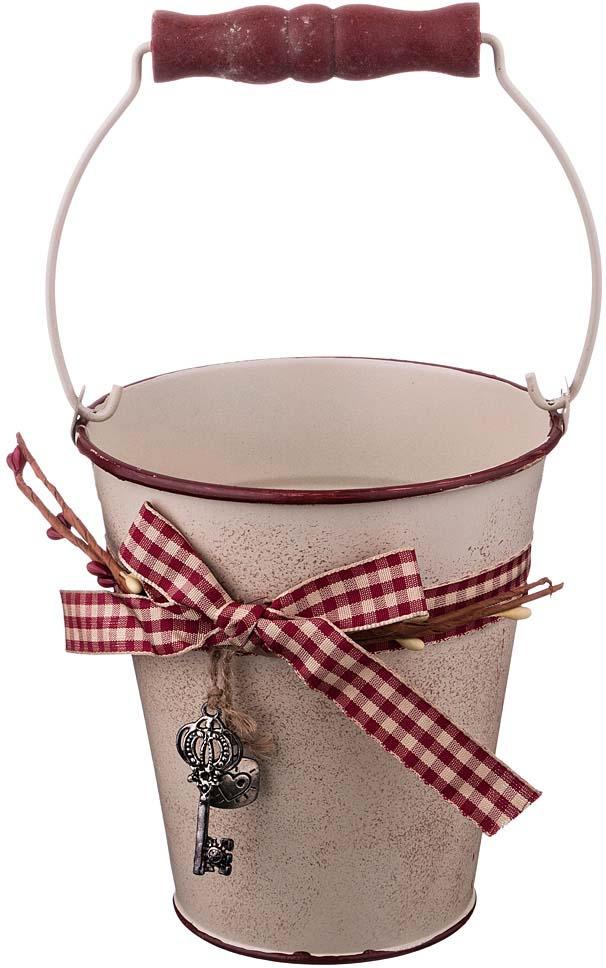 Кашпо-ведерко Lefard Key, 736-509, с ручкой, розовый, 12 х 13 х 7,5 см кашпо lefard цвет розовый 14 х 14 х 13 см