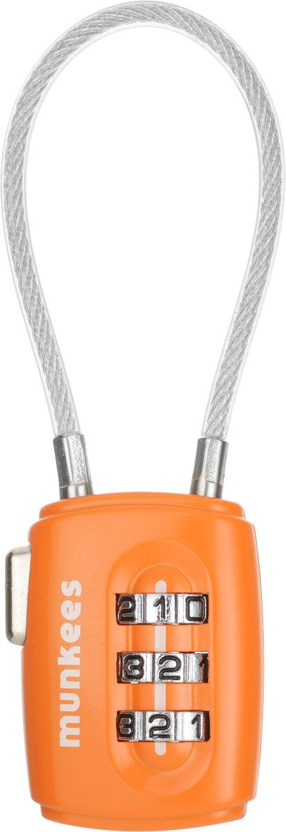 Брелок-замок Munkees, кодовый, с тросом, цвет: оранжевый