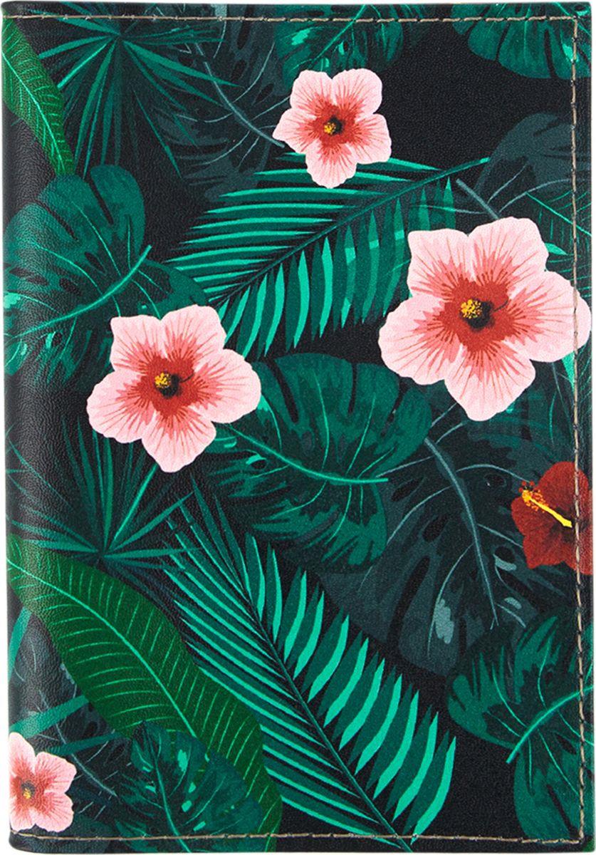 Обложка для паспорта женская Kawaii Factory Дикие цветы, KW064-000382, зеленый обложка для автодокументов kawaii factory инструкция летчику цвет зеленый kw063 000022