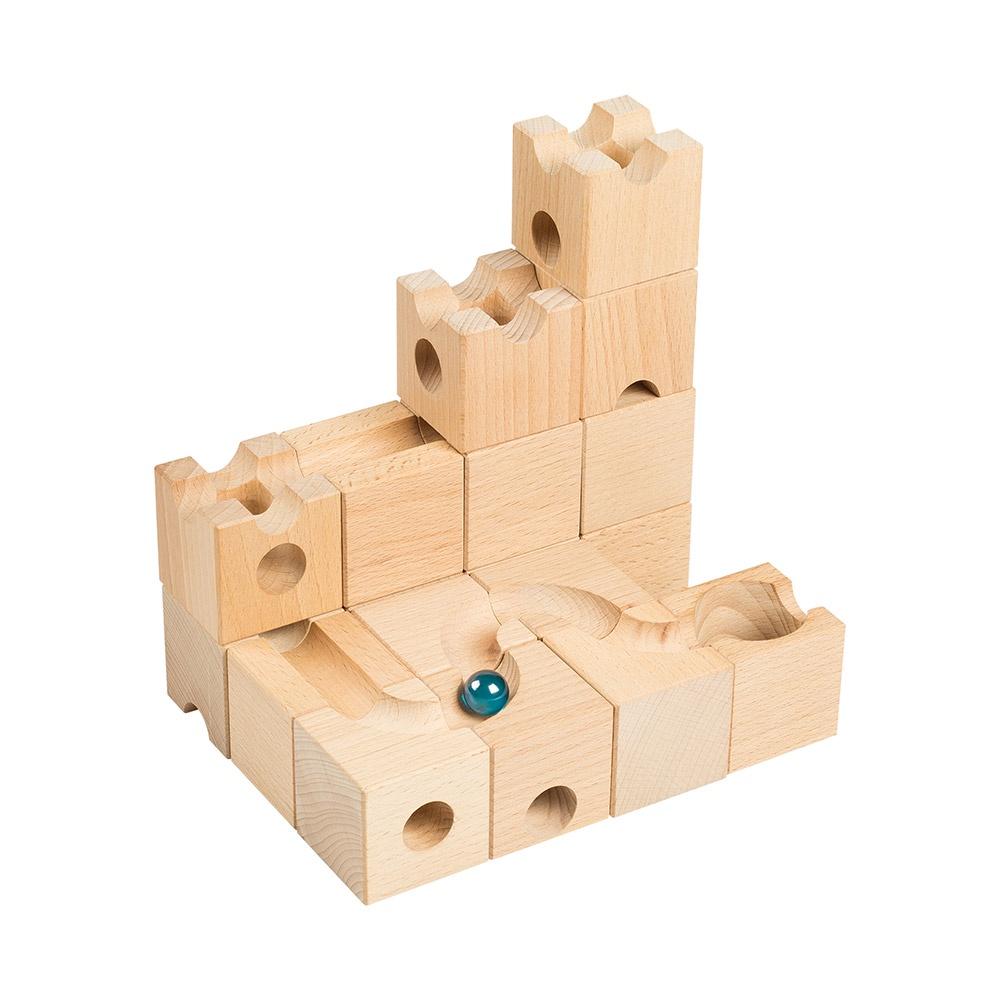Деревянный конструктор РЭДИ Шарики-кубарики стартовый набор для детей от 3-х лет, 18 кубиков