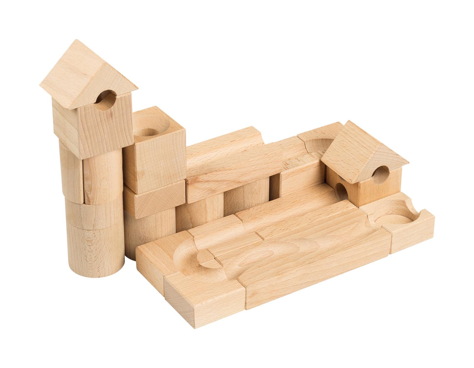 Деревянный конструктор РЭДИ Шарики-кубарики стартовый набор для самых маленьких, для детей от 3-х лет, 18 кубиков