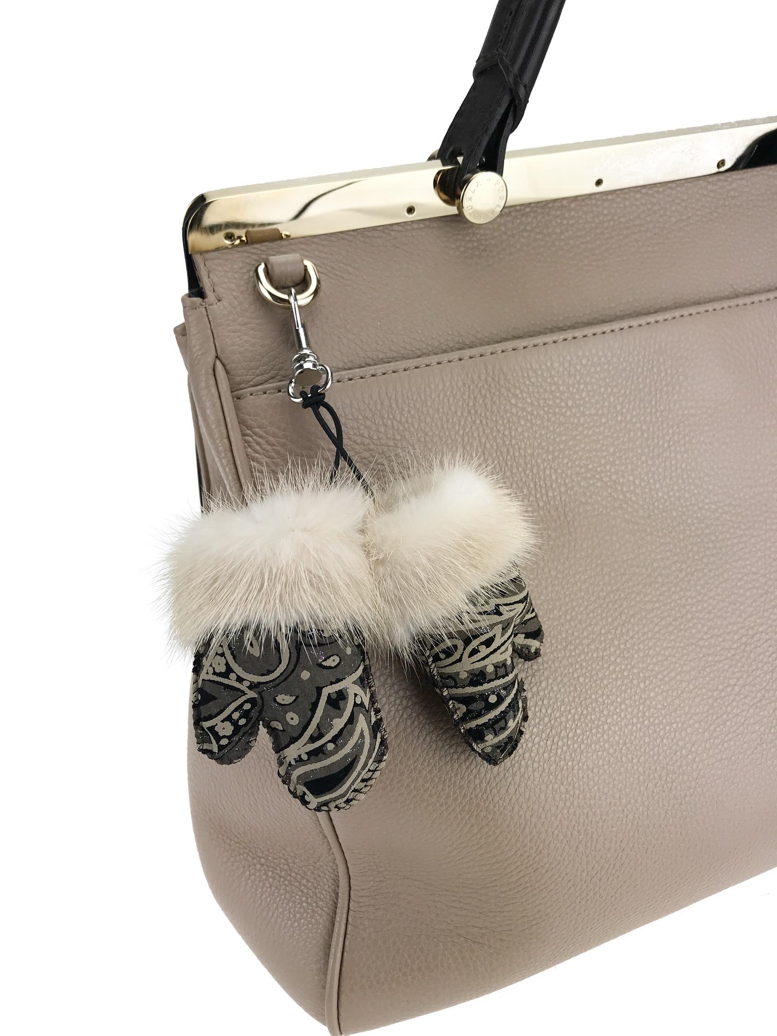 Брелок для сумки Mex-Style Брелок-рукавички, ф.778 Брелок-рукавички (кожа черная/норка паломино, 0) брелок для сумки rolf schulte