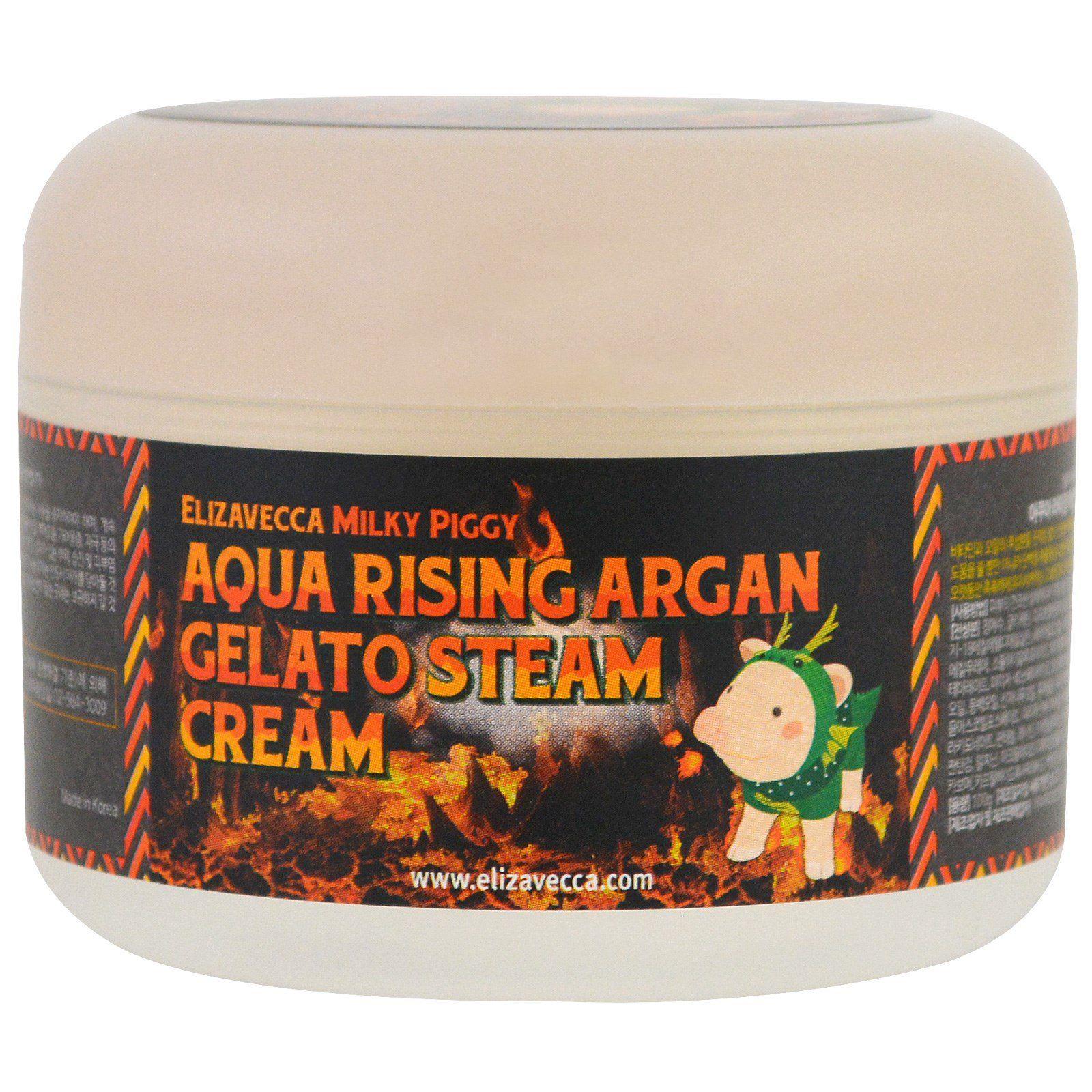 """Elizavecca. Паровой увлажняющий крем с маслом арганы """"Milky Piggy Aqua Rising Argan Gelato Steam Cream"""""""