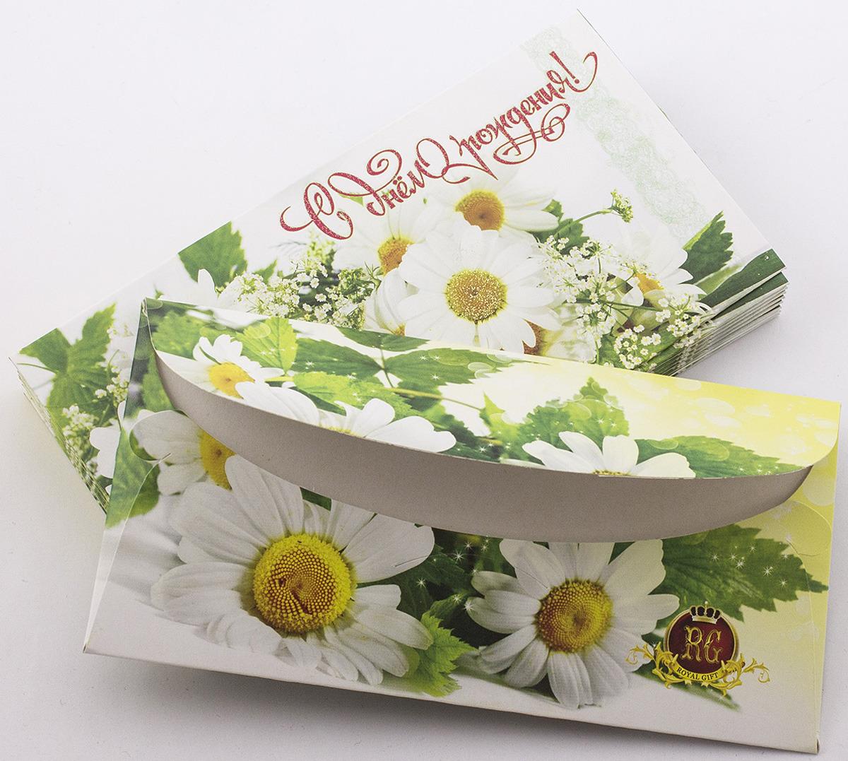 Подарочная упаковка праздничная Эврика Конверт Поздравительный №7 Ромашки , 99084, 10 шт