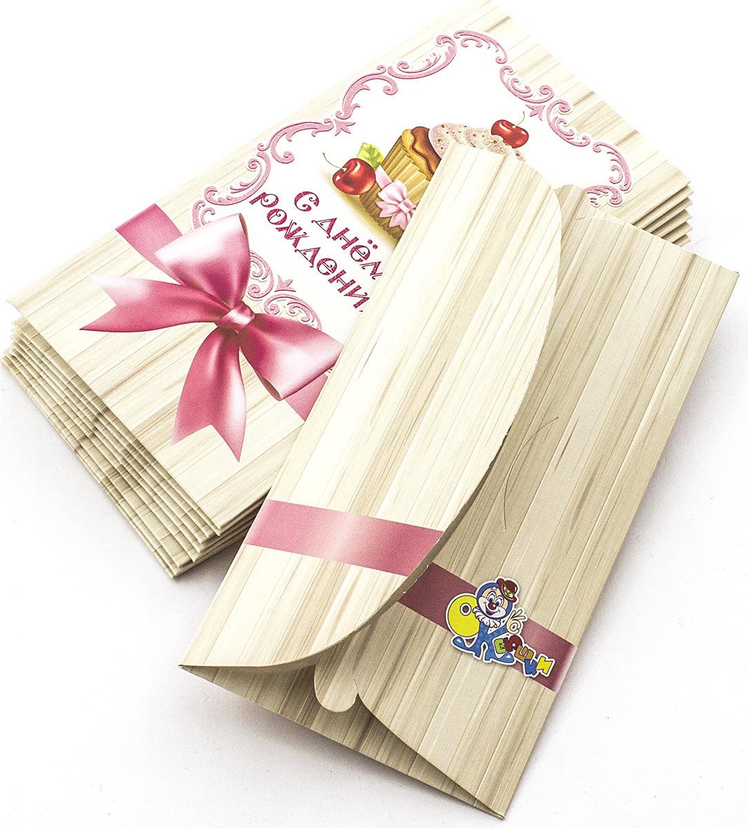 Подарочная упаковка праздничная Эврика Конверт Поздравительный №9 Кекс, 99086, 10 шт