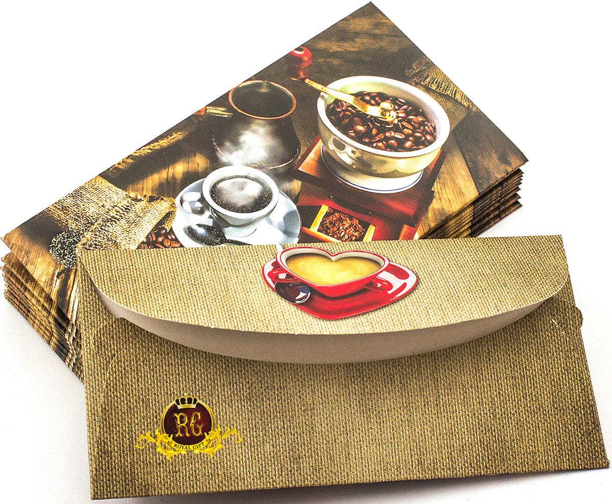 Подарочная упаковка праздничная Эврика Конверт Поздравительный №12 Кофе, 99089, 10 шт