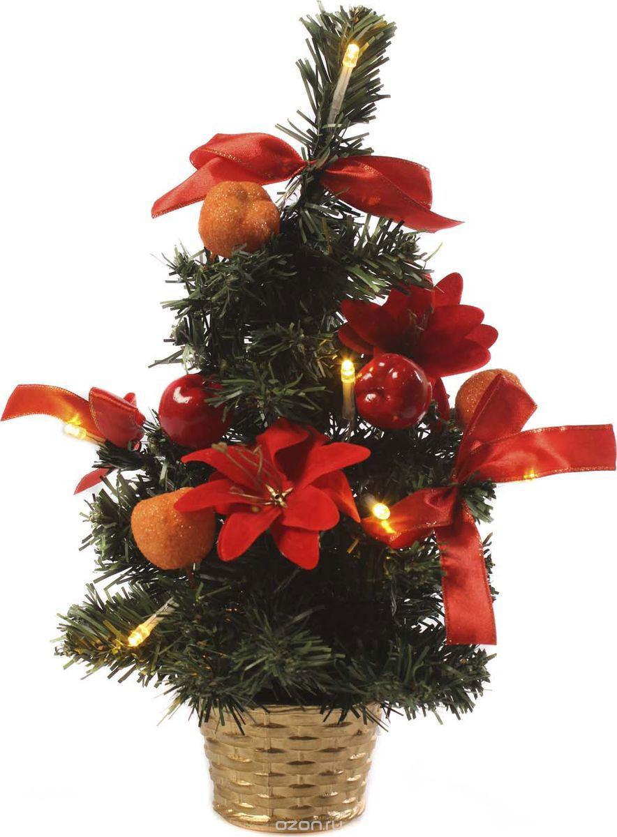 Елка настольная Vittorio Richi, с игрушками и гирляндой, 19k10lamp5540, зеленый, красный, 40 см елка искусственная наряженная