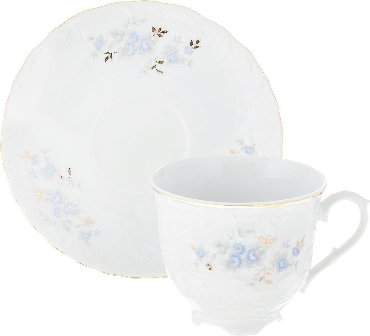 "Чайная пара Cmielow ""Rococo. Голубой цветок"", 250 мл, 2 предмета"