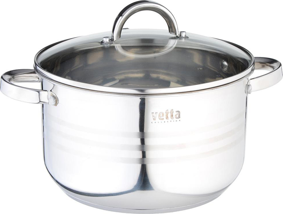 Кастрюля Vetta Фултон с крышкой, 822115, серый, 5,4 л