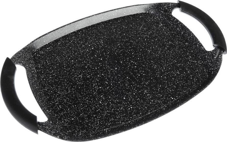 Противень Satoshi Лион с антипригарным покрытием, 846432, черный846432Противень SATOSHI Лион прямоугольной формы выполнен из высококачественного литого алюминия, с антипригарным мраморным покрытием изнутри и краской черного цвета снаружи. Изделие имеет гладкую поверхность, равномерно и быстро прогревается, что способствует лучшему пропеканию пищи. Противень оснащен двумя удобными ручками с силиконовыми накладками. Изделие подходит для всех типов плит, включая индукцию, дляиспользования в духовом шкафу. Можно мыть в посудомоечной машине. Для чистки нельзя использовать абразивные металлические губки и чистящий порошок.