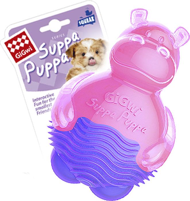 Игрушка для животных GiGwi Бегемотик с пищалкой, 75425, розовый игрушка пласт муз веселый бегемотик с вибро