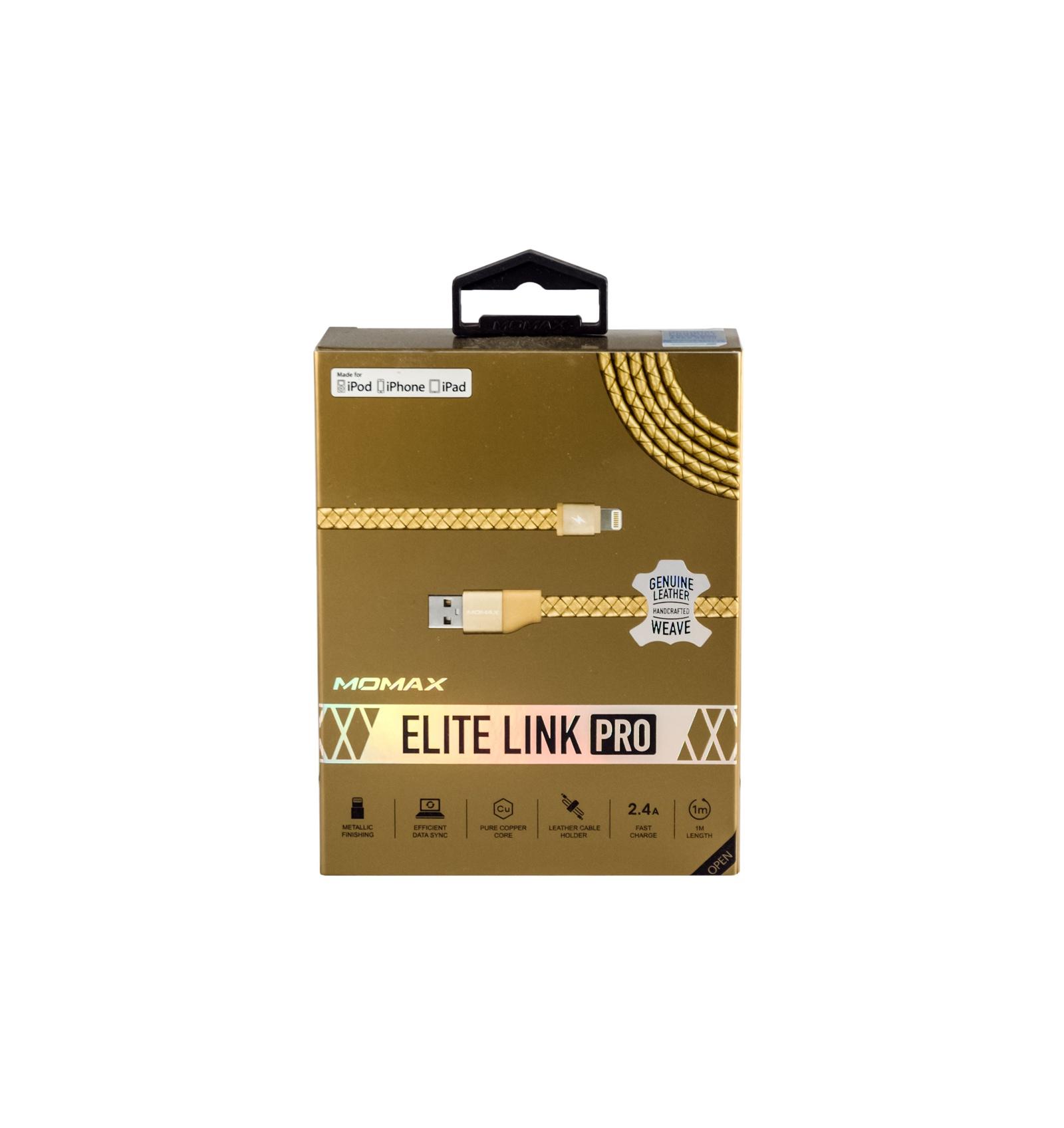 Кабель Momax Lightning-USB для Apple с сертифицированным чипом MFi Elite Link Pro 1 метр , 4894222041417, золотой momax momax тип c на usb кабель usb otg поддержка музыки macbook как прокси мобильного телефона 5 meizu pro u дисковая мышь и клавиатура 18 см серебристый