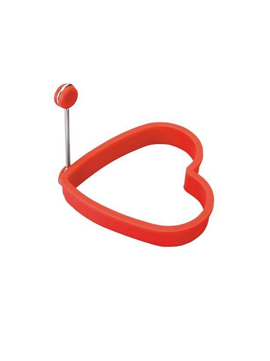 Форма для яичницы Kitchen Angel в виде сердца с держателем, форма для жарки сердце с ручкой, красный