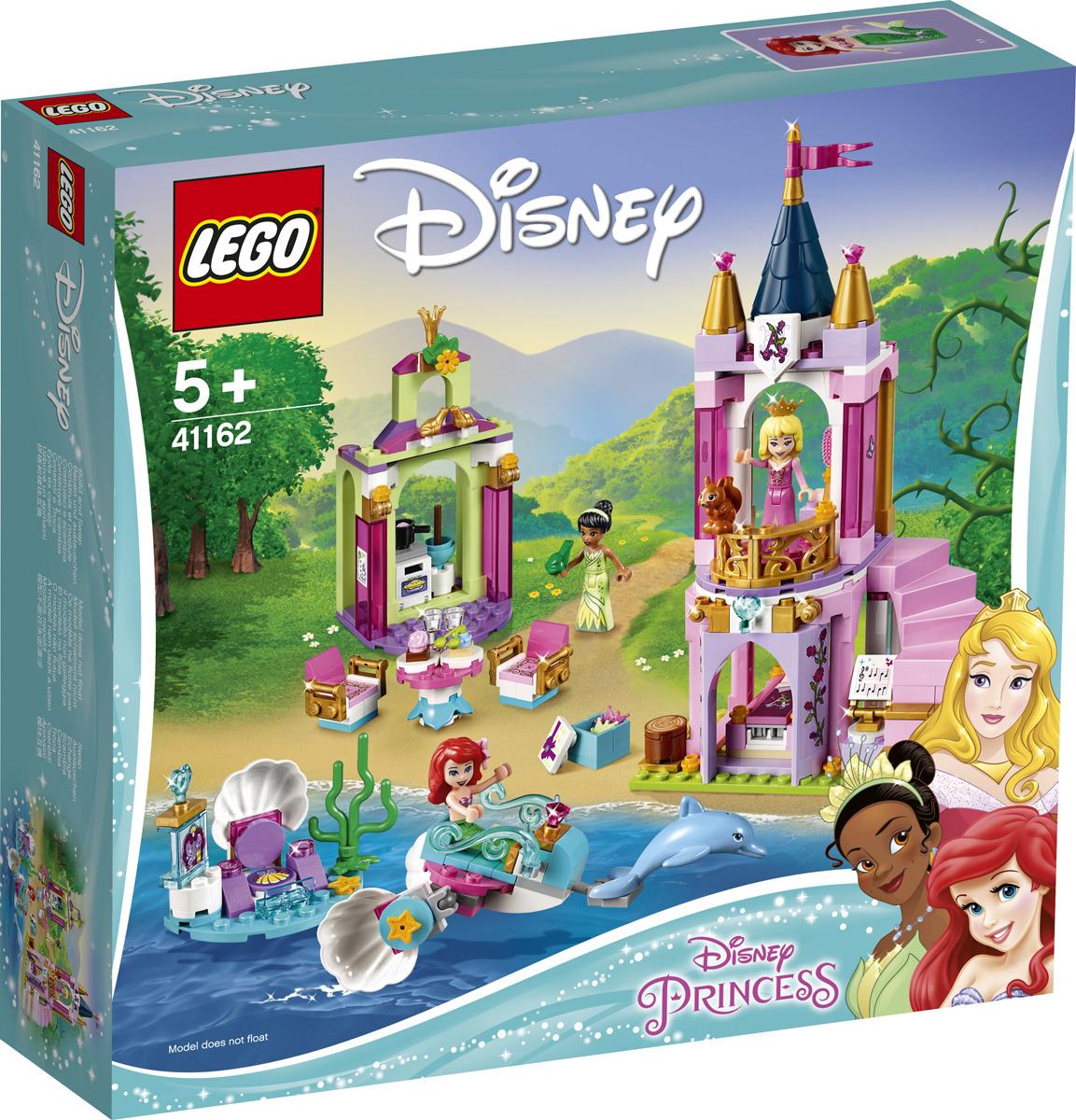 Конструктор LEGO Disney Princess Королевский праздник Ариэль, Авроры и Тианы, 4116241162Поиграйте с тремя своими любимыми принцессами Disney из этого особенного набора LEGO Disney. Используйте вращающуюся фигурку, чтобы помочь принцессе Авроре танцевать на балконе своего замка. Прокатитесь вместе с принцессой Ариэль на ее подводной карете-раковине. А затем испеките немного круассанов для ресторана принцессы Тианы и ее подружки-лягушки. Только представьте, какие увлекательные приключения вы сможете придумать вместе с этими вдохновляющими принцессами, исследующими миры друг друга!