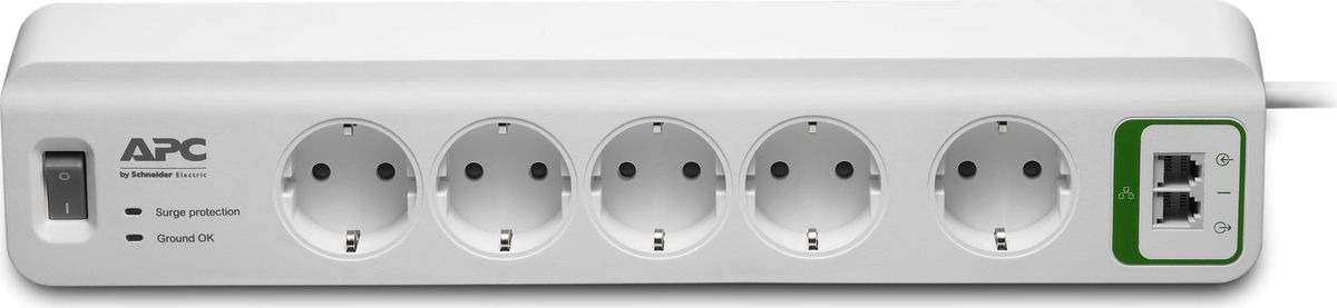 Сетевой фильтр APC PM5T-RS 5 розеток 1.83м, 283512, белый сетевой фильтр apc pm5b rs серый