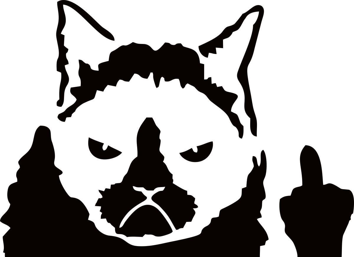 Фото - Наклейка ОранжевыйСлоник виниловая Злой кот для авто или интерьера, Винил авто