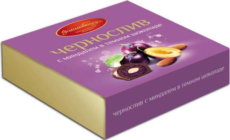 Конфеты Волшебница Чернослив с миндалем, в шоколаде, 110 г конфеты волшебница имбирь в шоколаде 120 г