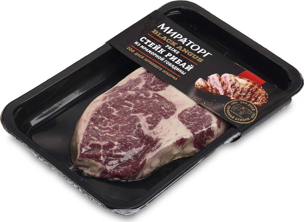 Стейк Мираторг Рибай, из мраморной говядины Prime Black Angus, охлажденный, 390 г колбаски из говядины чиполетти black angus с дижонской горчицей мираторг 250 г