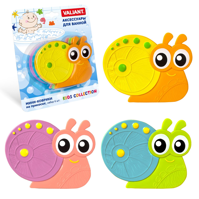Коврик для ванной детский Valiant Улиточка, K6-3884, 6 шт valiant мини коврик жирафы на присосах набор 6 шт