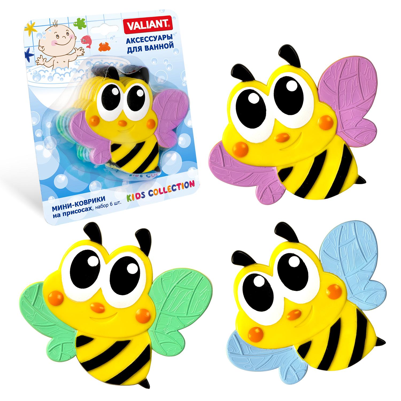 Коврик для ванной детский Valiant Пчелка, K6-3887, 6 шт valiant мини коврик жирафы на присосах набор 6 шт