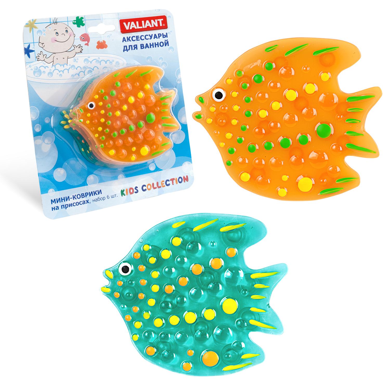 Коврик для ванной детский Valiant Тропическая рыбка, K6-8825, 6 шт valiant мини коврик жирафы на присосах набор 6 шт