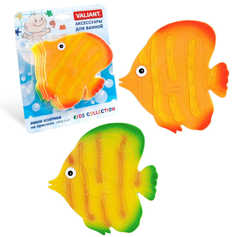 Коврик для ванной детский Valiant Рыба, K6-9914, 6 шт valiant мини коврик жирафы на присосах набор 6 шт