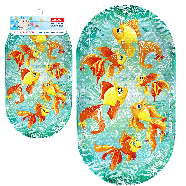Коврик для ванной детский Valiant Золотые рыбки, K6939-GF valiant коврик для ванны на присосах противоскольз 69 39 см egypt symbols