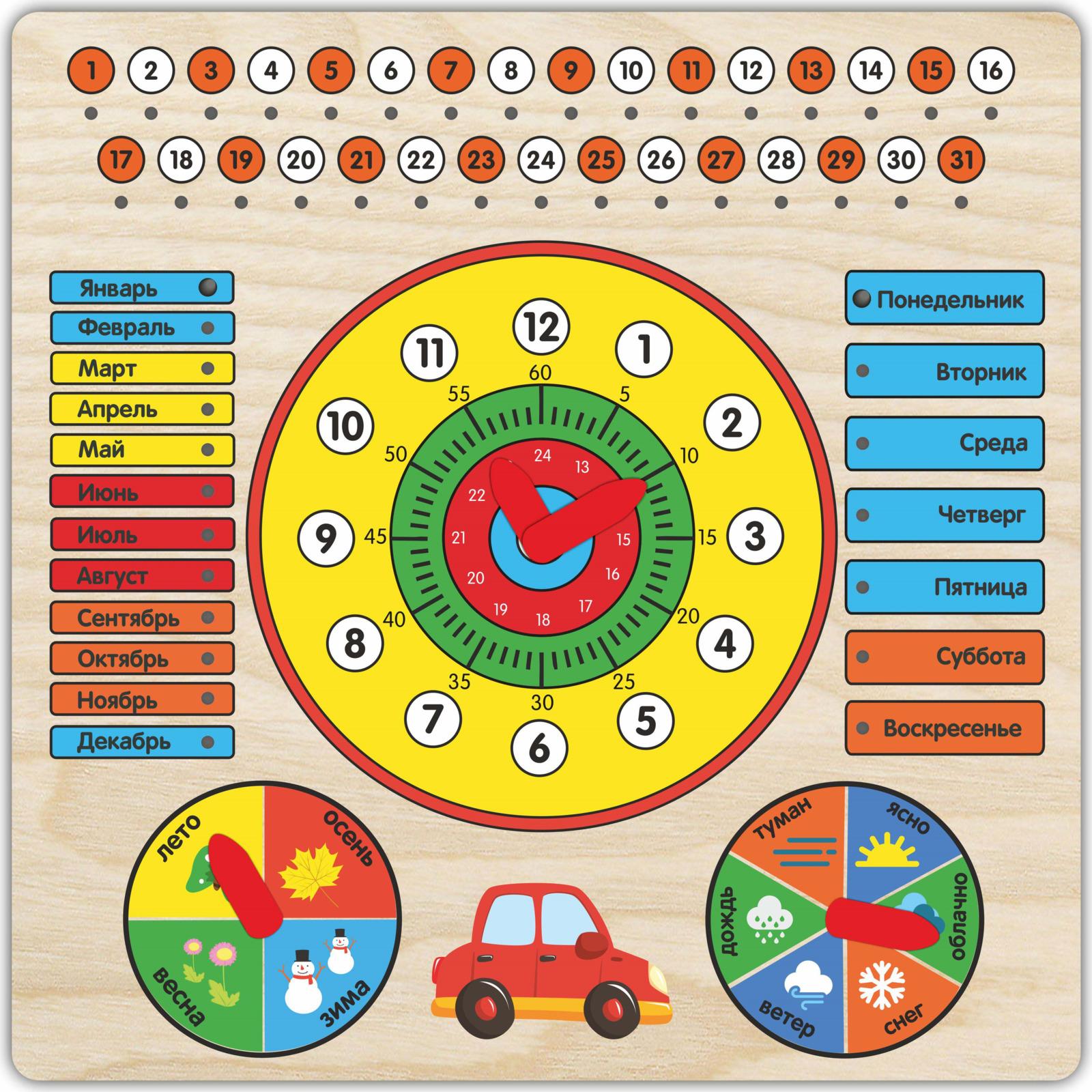 Обучающая игра Фабрика Мастер игрушек Календарь с часами. Машинка, 4631140325430