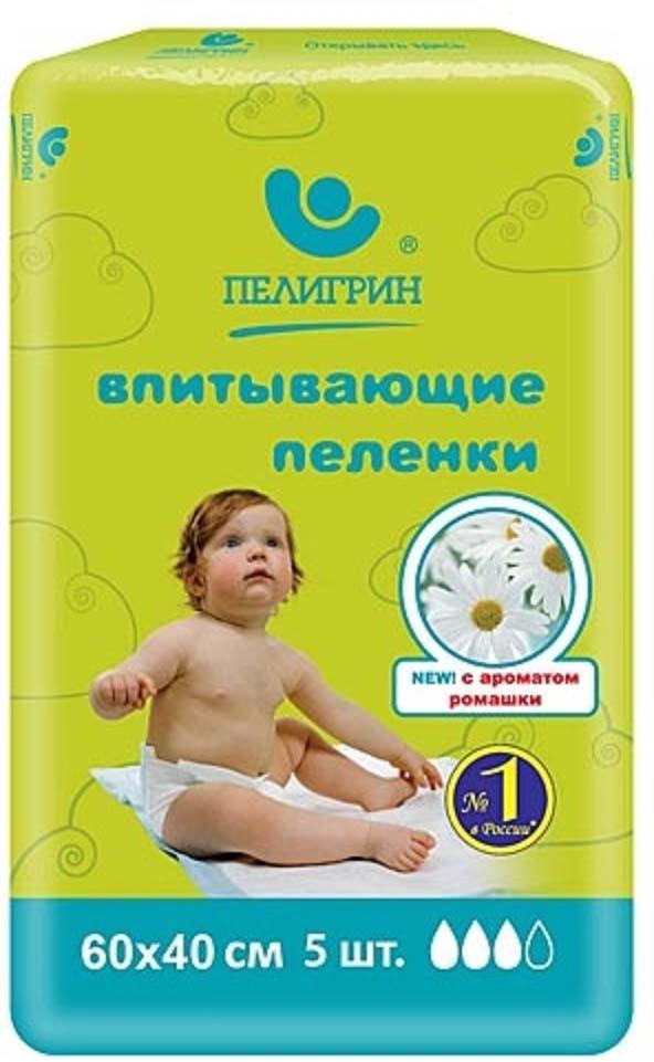 """Пеленка одноразовая Пелигрин """"Ромашка"""", впитывающая, 60 х 40 см, 5 шт"""