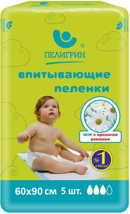 """Пеленка одноразовая Пелигрин """"Ромашка"""", впитывающая, 60 х 90 см, 5 шт"""