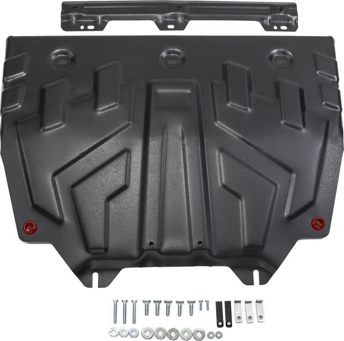 Защита картера и КПП Автоброня (увеличенная) для Mazda 3 2013-н.в./6 2012-2015 2015-н.в./CX-5 2011-2015 2015-2017 2017-н.в./CX-9 2017-н.в., сталь 2 мм, с крепежом. 111.03817.1111.03817.1Защита картера и КПП Автоброня (увеличенная) для Mazda 3 (V - 1.5; 1.6; 2.0) 2013-н.в./Mazda 6 (V - 2.0; 2.5) 2012-2015/Mazda 6 (V - 2.0; 2.5) 2015-н.в./Mazda CX-5 (V - 2.0; 2.5) 2011-2015/Mazda CX-5 (V - 2.0; 2.5) 2015-2017/Mazda CX-5 (V - 2.0; 2.5) АКПП 2017-н.в./Mazda CX-9 (V - 2.5) 2017-н.в., сталь 2 мм, с крепежом, 111.03817.1 Стальные защиты Автоброня надежно защищают ваш автомобиль от повреждений при наезде на бордюры, выступающие канализационные люки, кромки поврежденного асфальта или при ремонте дорог, не говоря уже о загородных дорогах. - Имеют оптимальное соотношение цена-качество. - Спроектированы с учетом особенностей автомобиля, что делает установку удобной. - Защита устанавливается в штатные места кузова автомобиля. - Является надежной защитой для важных элементов на протяжении долгих лет. - Глубокий штамп дополнительно усиливает конструкцию защиты. - Подштамповка в местах крепления защищает крепеж от срезания. - Технологические отверстия там, где они необходимы для смены масла и слива воды, оборудованные заглушками, закрепленными на защите.