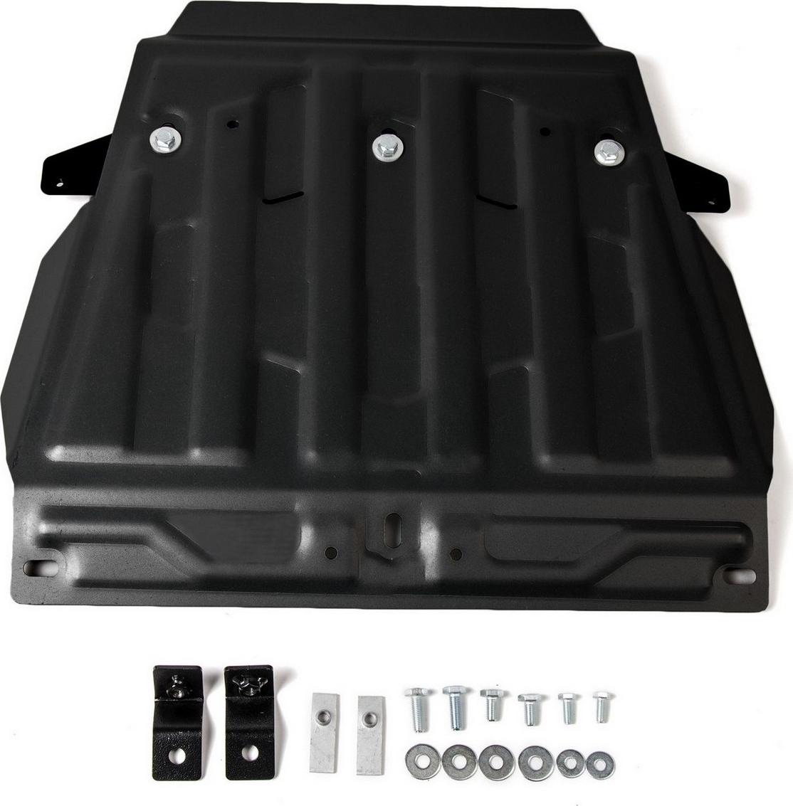 Защита картера Автоброня (часть 1) для Lexus LX 2008-2015 2015-н.в./Toyota Land Cruiser 200 2007-2015 2015-н.в., сталь 2 мм, с крепежом. 111.05713.3