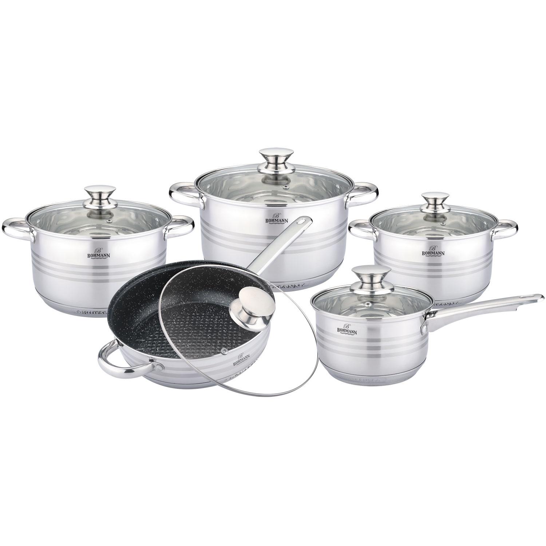 Фото - Набор посуды для приготовления Bohmann 0910BHMRB, серебристый [супермаркет] jingdong геб scybe фил приблизительно круглая чашка установлена в вертикальном положении стеклянной чашки 290мла 6 z