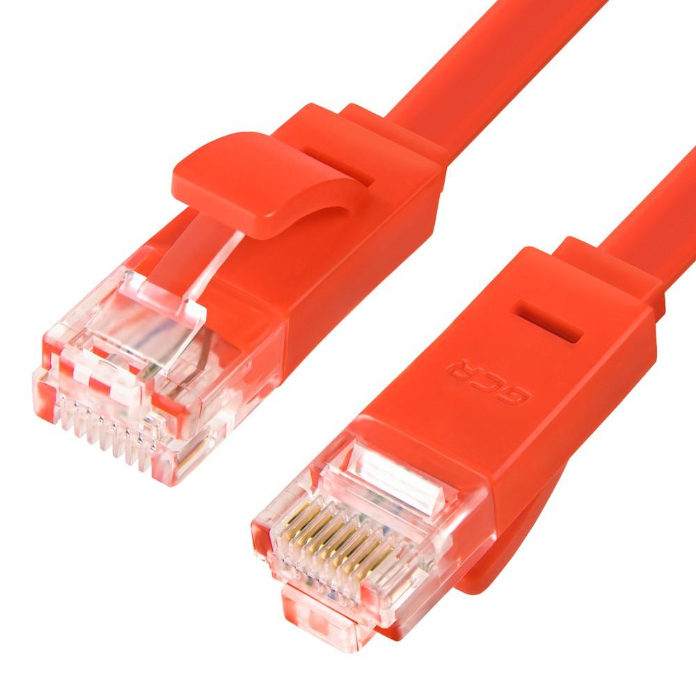 Патч-корд Greenconnect плоский прямой 0.15m, UTP медь кат.6, красный, 30 AWG, ethernet high speed 10 Гбит/с, RJ45, T568B, GCR-LNC624-0.15m