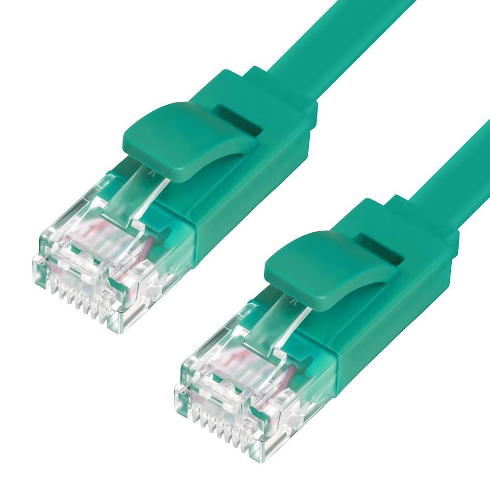 Патч-корд Greenconnect плоский прямой 7.5m, UTP медь кат.6, зеленый, 30 AWG, ethernet high speed 10 Гбит/с, RJ45, T568B, GCR-LNC625-7.5m