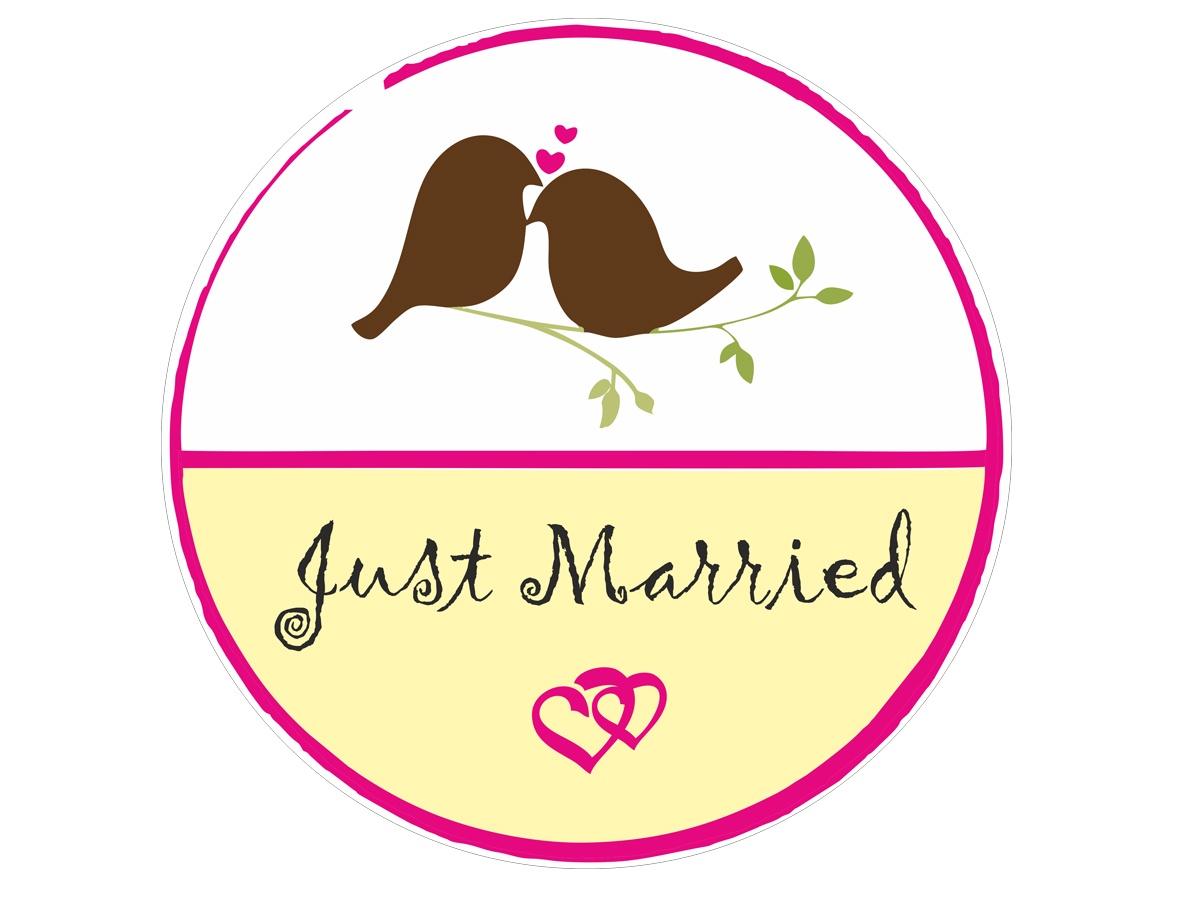Фото - Магнит Простые Предметы свадебный декор на автомобиль Just Married - круглый авто