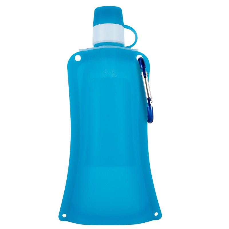 Силиконовая складная бутылка-мешок для воды на велосипед, спортивная бутылка для воды складная (син.)