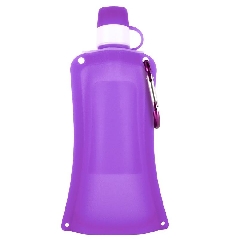 Силиконовая складная бутылка-мешок для воды на велосипед, спортивная бутылка для воды складная (фиол.)