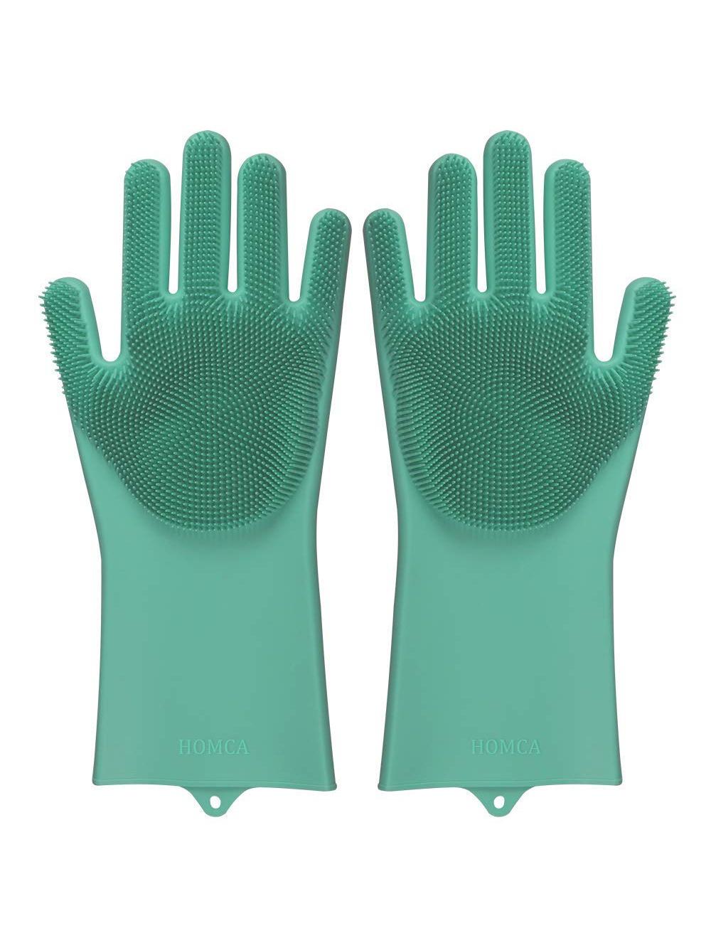 Перчатки хозяйственные Blonder Home силиконовые термостойкие для мытья посуды, зеленый щетки для кухни