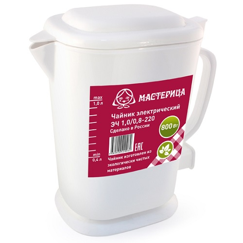 Чайник электрический Мастерица ЭЧ-1,0/0,8-220Б белый Мастерица