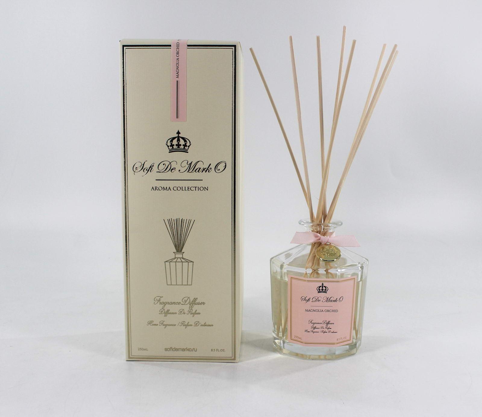 ДиффузорароматическийМагнолия и орхидея 250млАр-№12-250млВ комплект с аромамаслом входят 8 палочек, при впитывании в них масла, комната будет наполняться нежным облаком аромата. Аромат: орхидея, магнолия, морская бриз Объем: 250мл. Упаковка: подарочная коробка