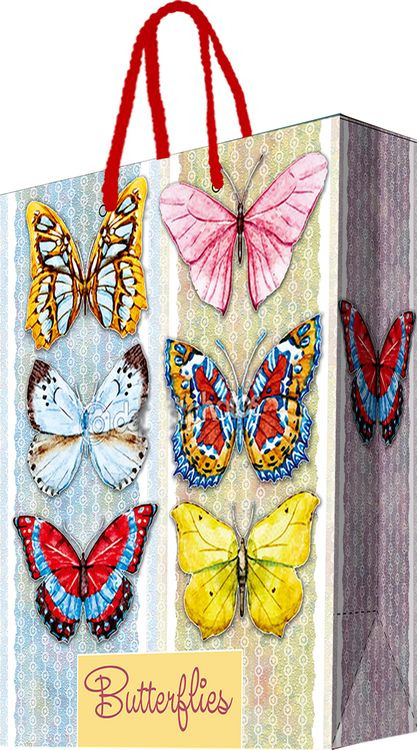 Бумажный пакет Magic Home Тропические бабочки, 44194, розовый, 26 х 32,4 см цена