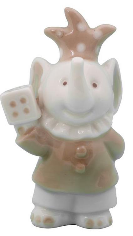 Декоративная фигурка Слоник с кубиком, 79342, белый, 5,7 х 4,2 10 см