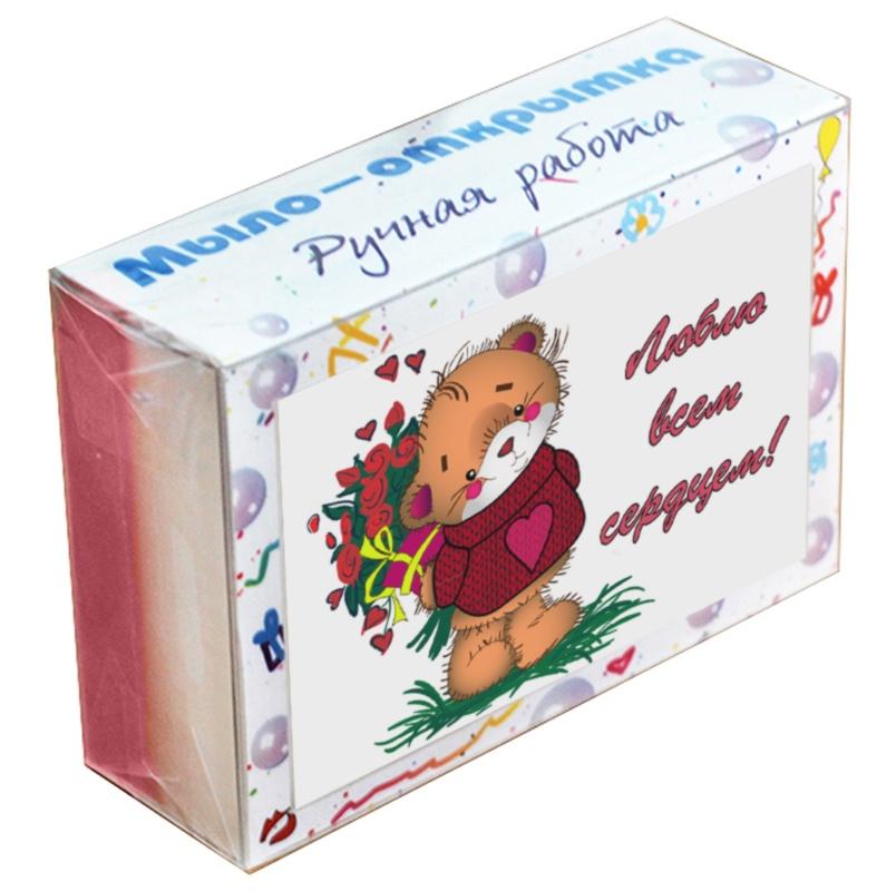 """Мыло туалетное ЭЛИБЭСТ Мыло-открытка """"Люблю всем сердцем"""" полезный оригинальный подарок, 100 гр."""
