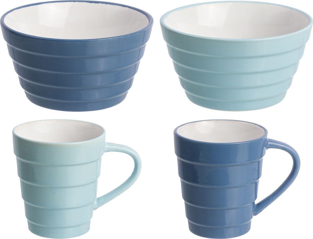 Фото - Набор столовой посуды Elan Gallery Пастель, 160051+4, бирюзовый, синий, 4 предмета набор стаканов elan gallery разноцветные 4 предмета