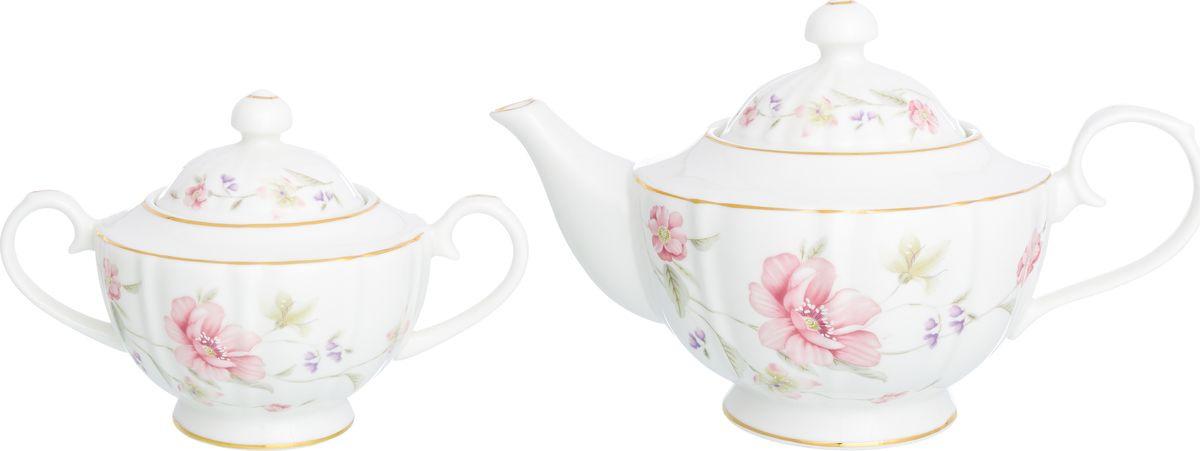 Набор чайный Elan Gallery Диана, 740281+2, белый, розовый, 2 предмета наборы для чаепития elan gallery чайный набор диана
